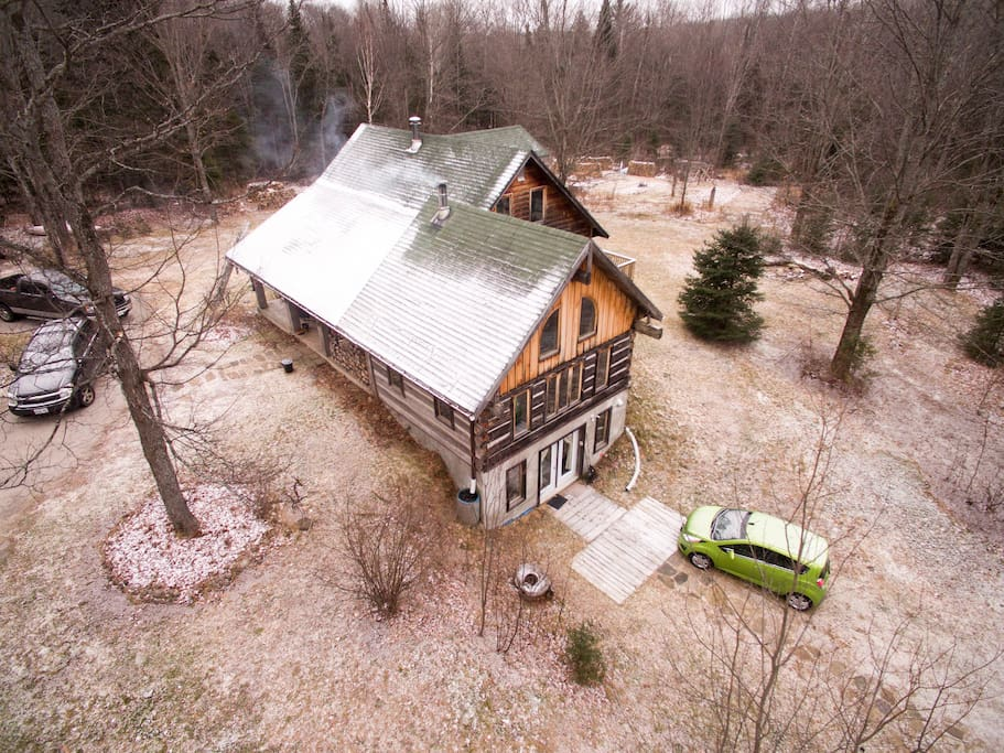 Aerial view of the whole house. We live on the main floor