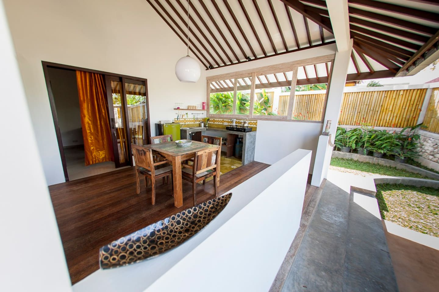 dining area and open air kitchen