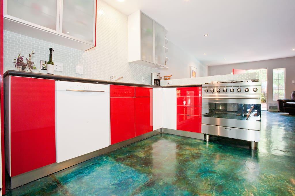 Open kitchen with Italian gas stove