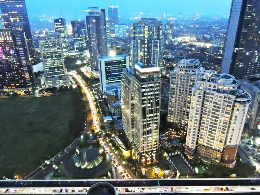 Night view from the balcony: Mega Kuningan JW Marriott and Ritz Carlton hotel