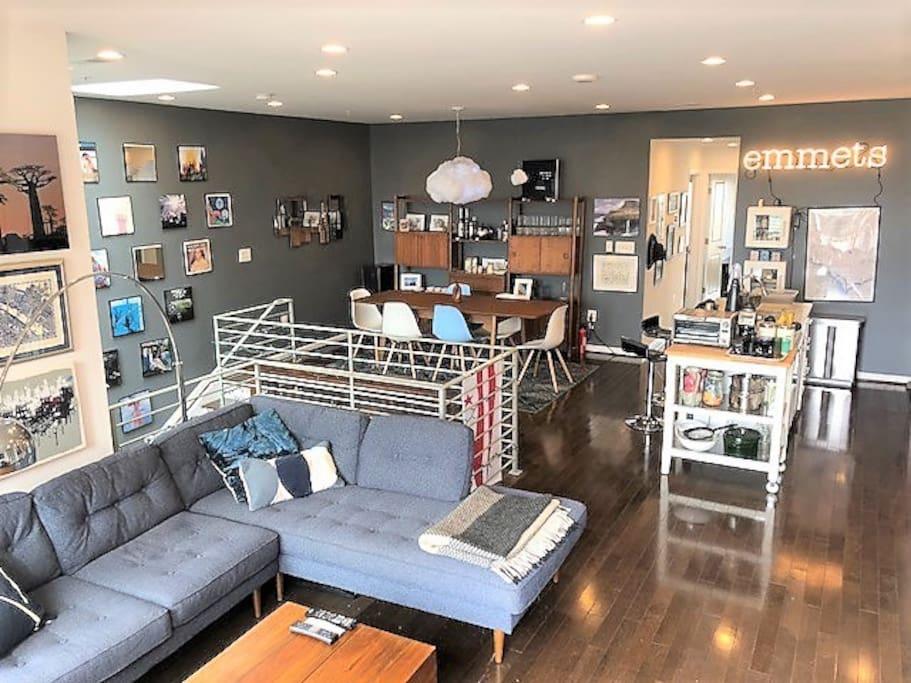 Spacious loft-style living area