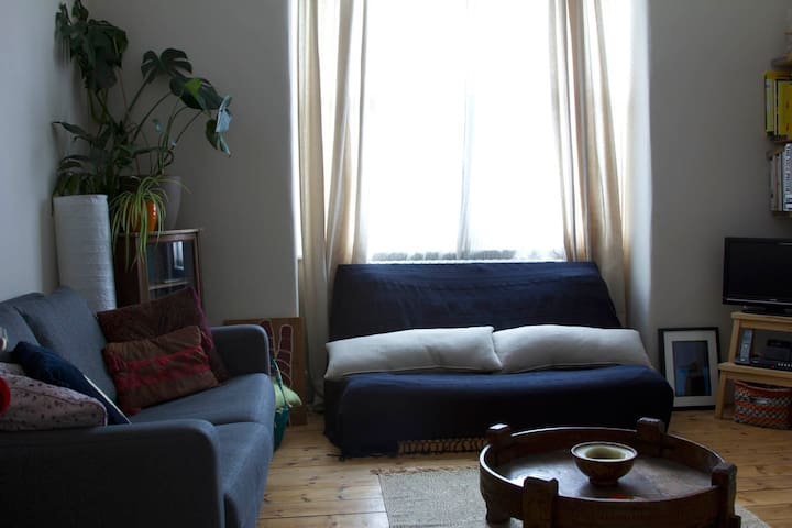 One sofa and one double futon which can sleep to additional people if needed.