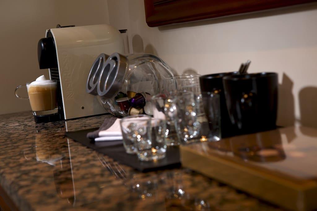 Nespresso coffee machine in the room