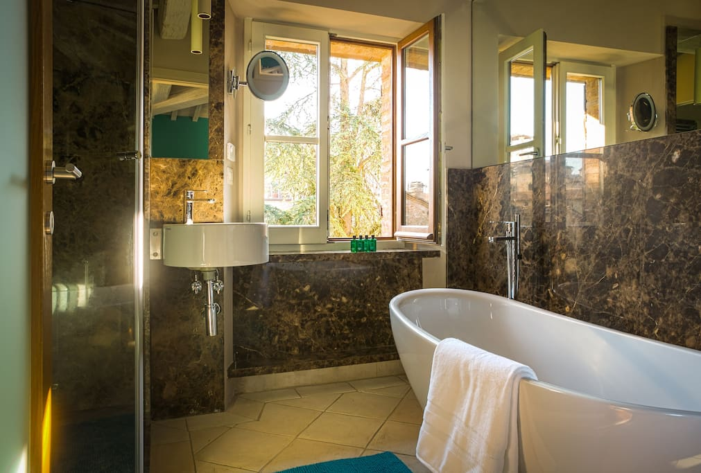 Ensuite bathroom with freestanding bath and separate waterfall shower