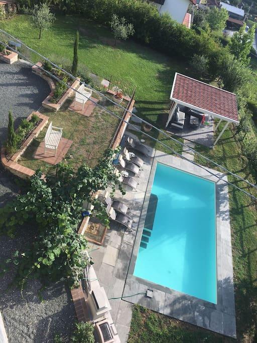 Pool, gazebo and belvedere
