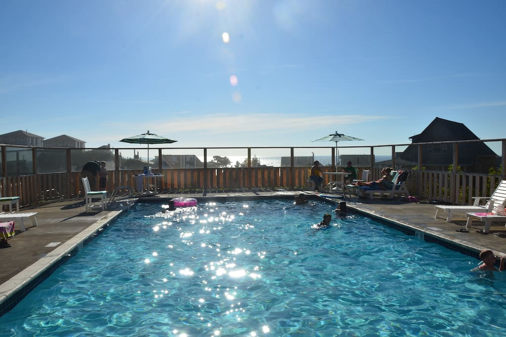 Brand new heated saline pool is just beyond the fire pits, open seasonally from Memorial Day until Sep. 30th. Ocean view from pool!