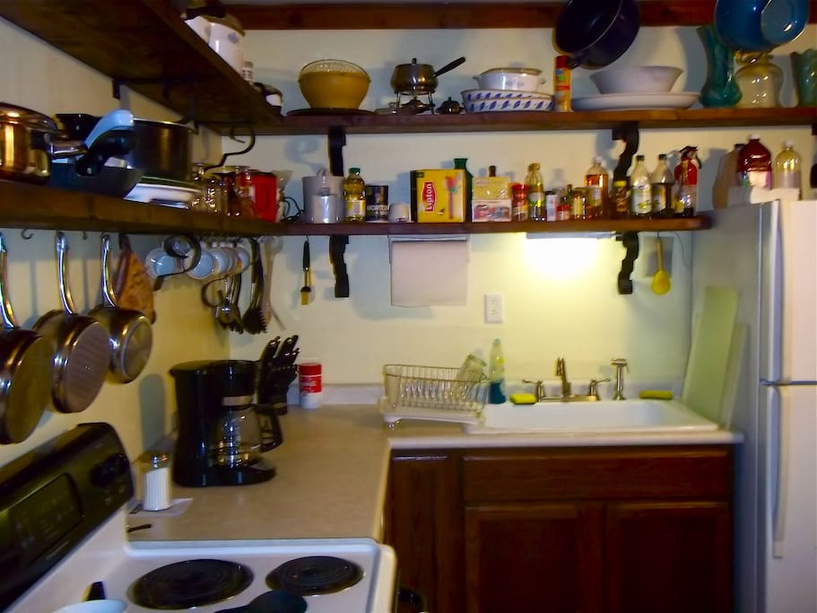 Large, fully-equipped, eat-in kitchen. Farmer's sink, stove and oven, dishwasher.