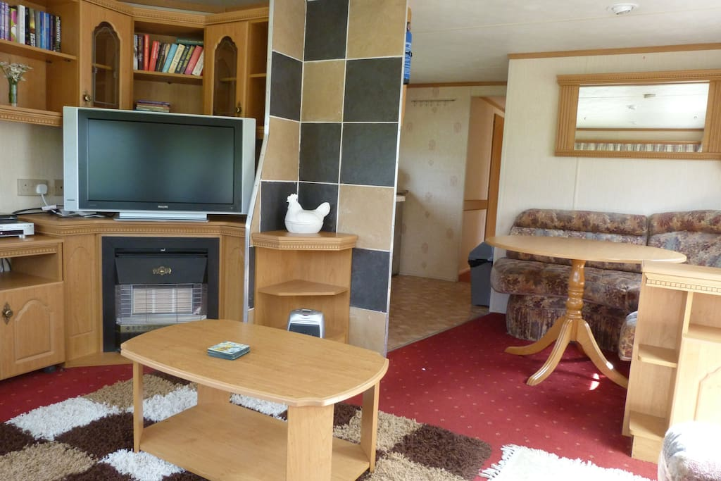 Sitting room looking onto dinning area.