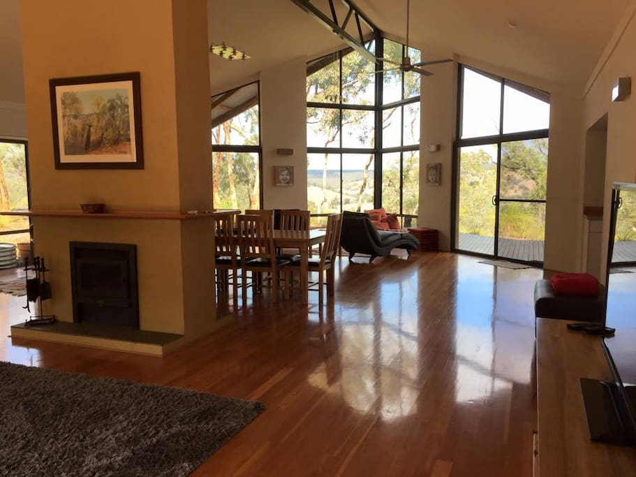 Panoramic living area with views across the Chittering Valley