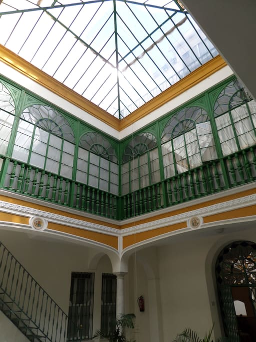 Typical Andalusian glasshouse over main courtyard