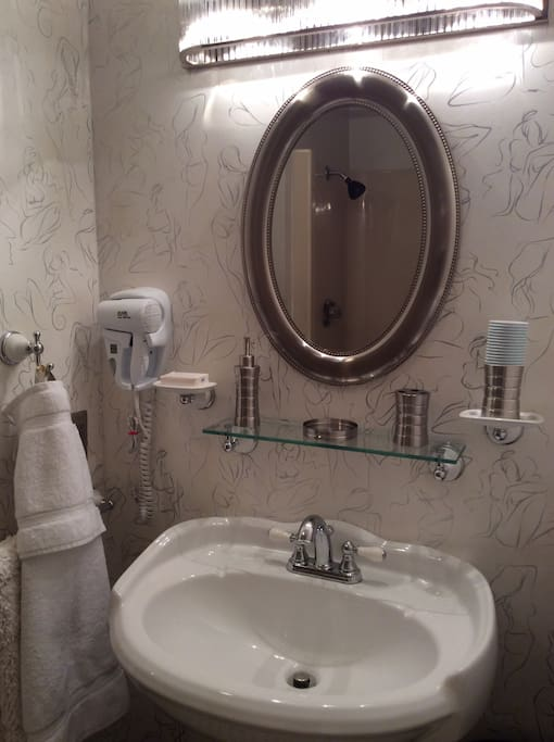 Immaculate bathroom with large shower only.  No tub.