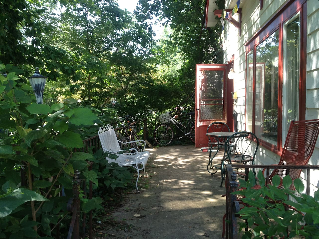 Our convivial, shady front porch.