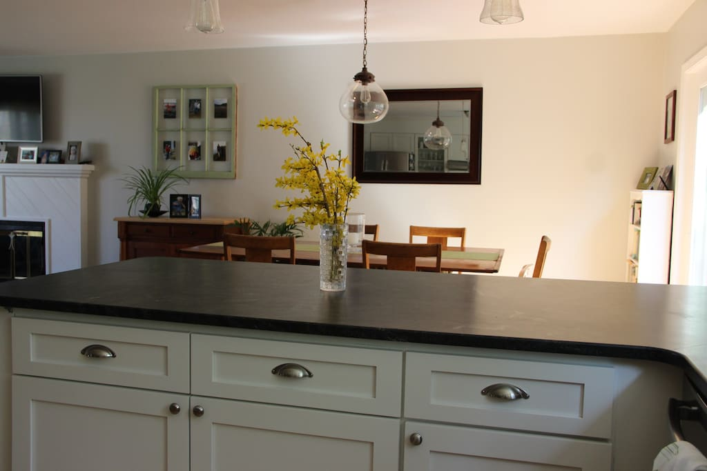 Beautiful granite countertops with plenty of space.