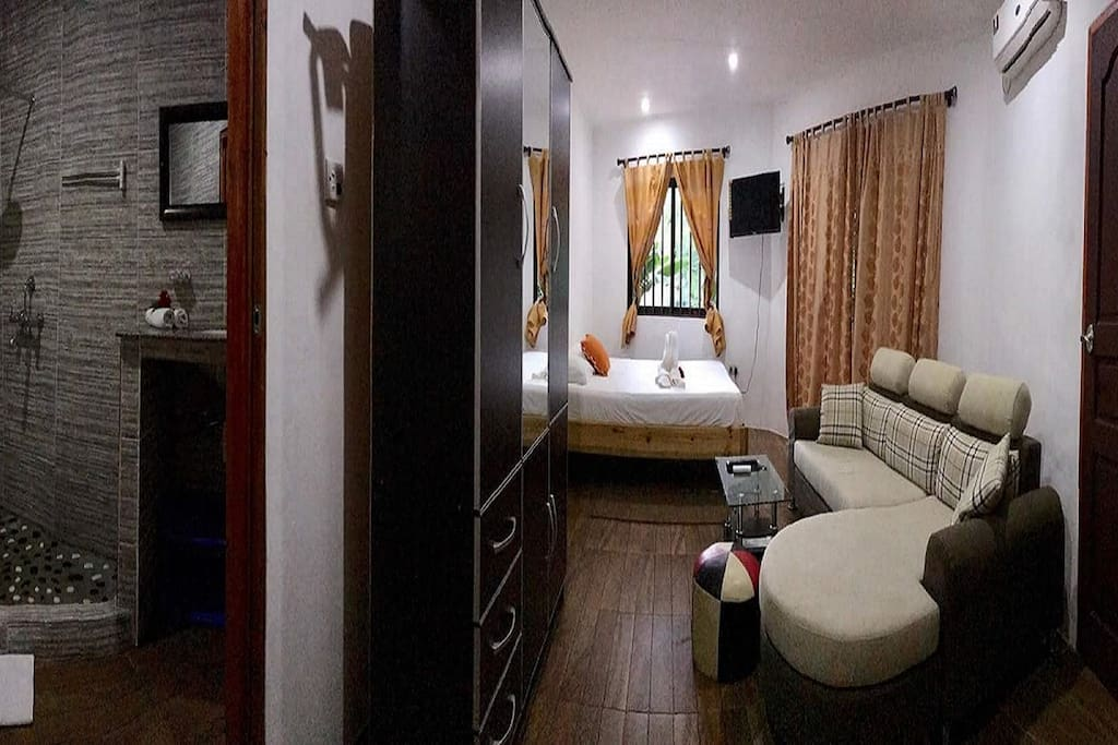 Bathroom and bedroom with sitting room