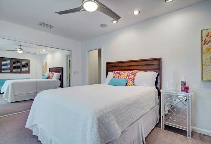 Custom built-in closets and ceiling fans in all bedrooms