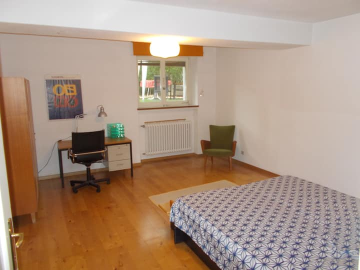 Large double bed room in student's apt. to share