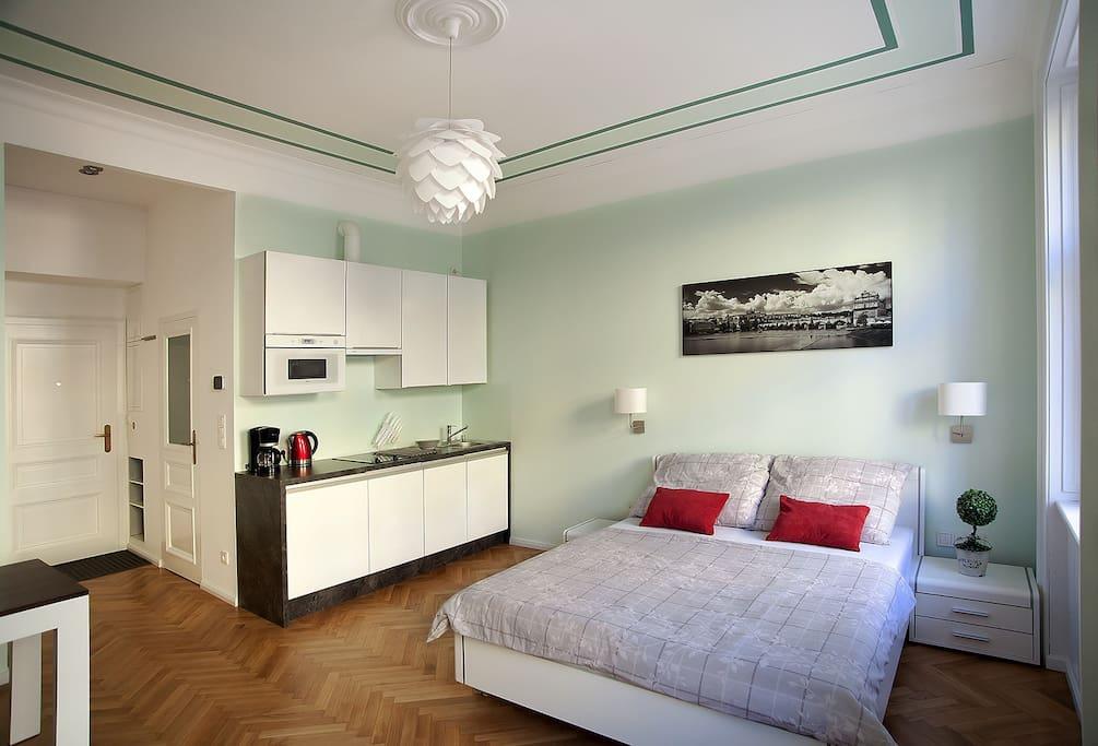 bedroom (bed linen, TV, satellite, internet WiFi, LAN, safe) with kitchen (microwave, coffee maker, kettle, dishwasher)