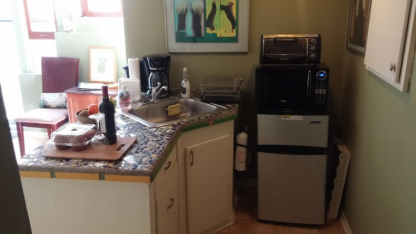 Efficiency Kitchen - sink, fridge, microwave, toaster oven & electric skillet