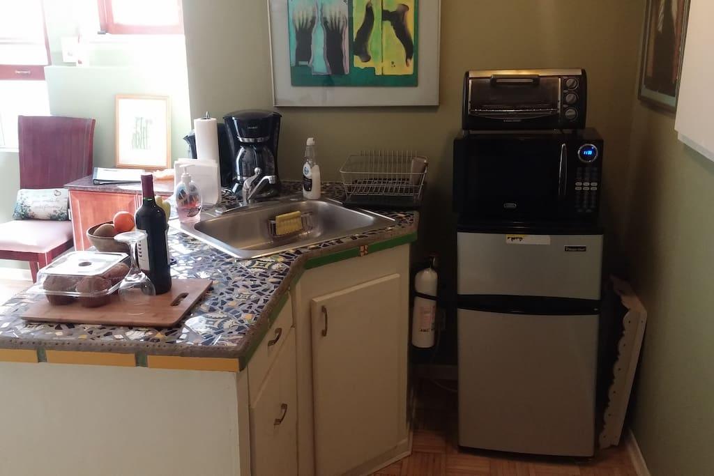 Efficiency Kitchen - sink, fridge, microwave, toaster oven & electric skillet