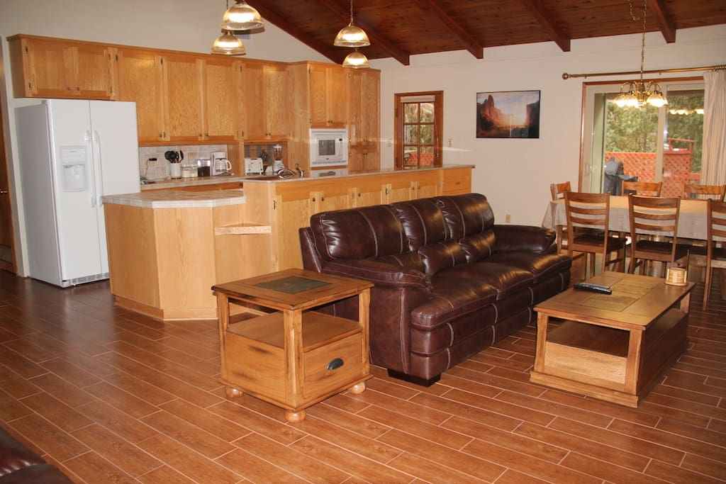 The kitchen opens up to the living room and dining room.