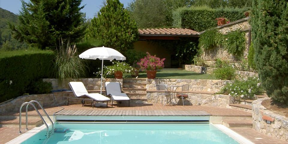 House in winery with view on San Gimignano & pool