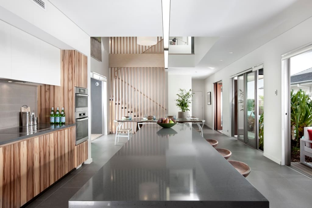 Modern luxury kitchen and dining area.