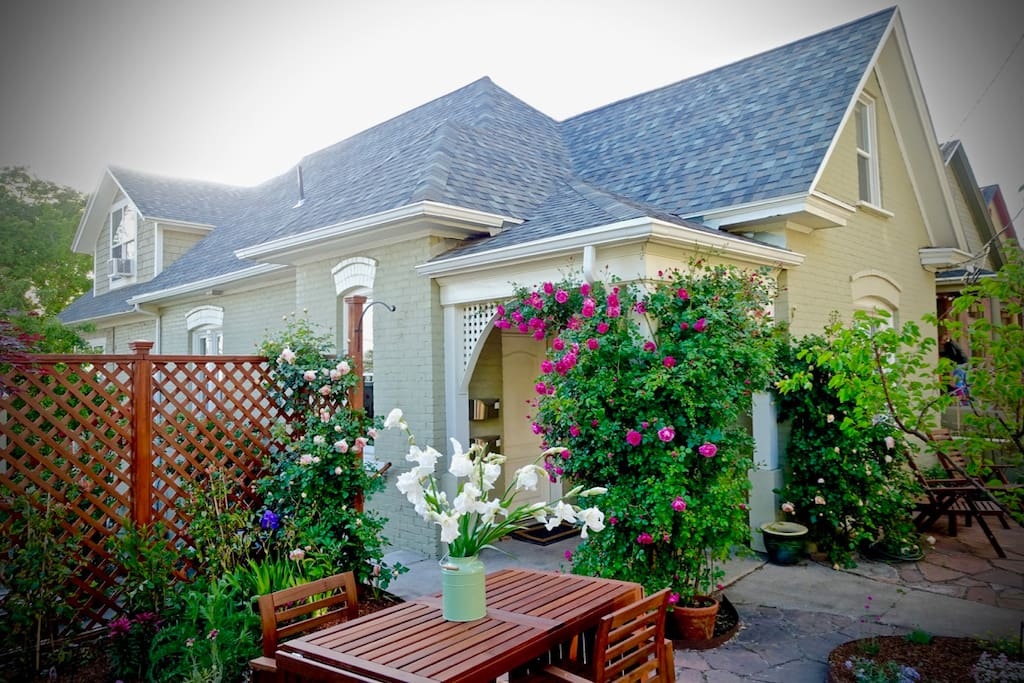 The house and front patio of our Almond Street property.