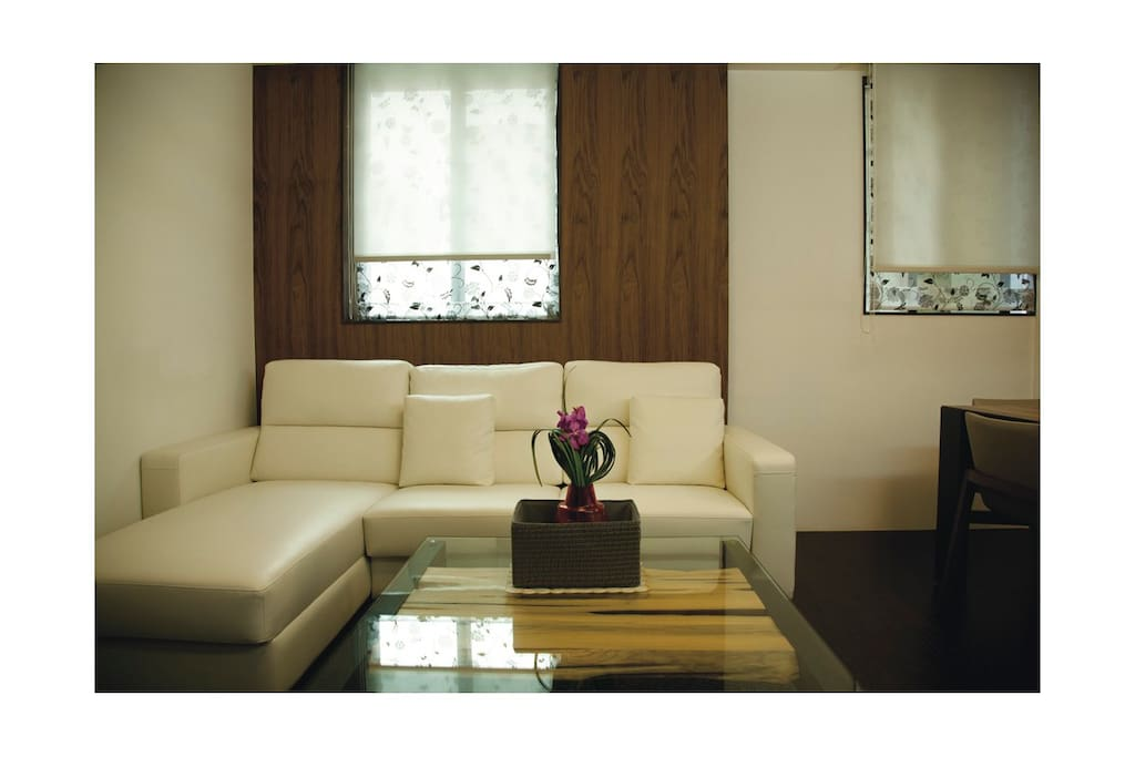 Spacious living room with genuine leather surface sofa 客厅