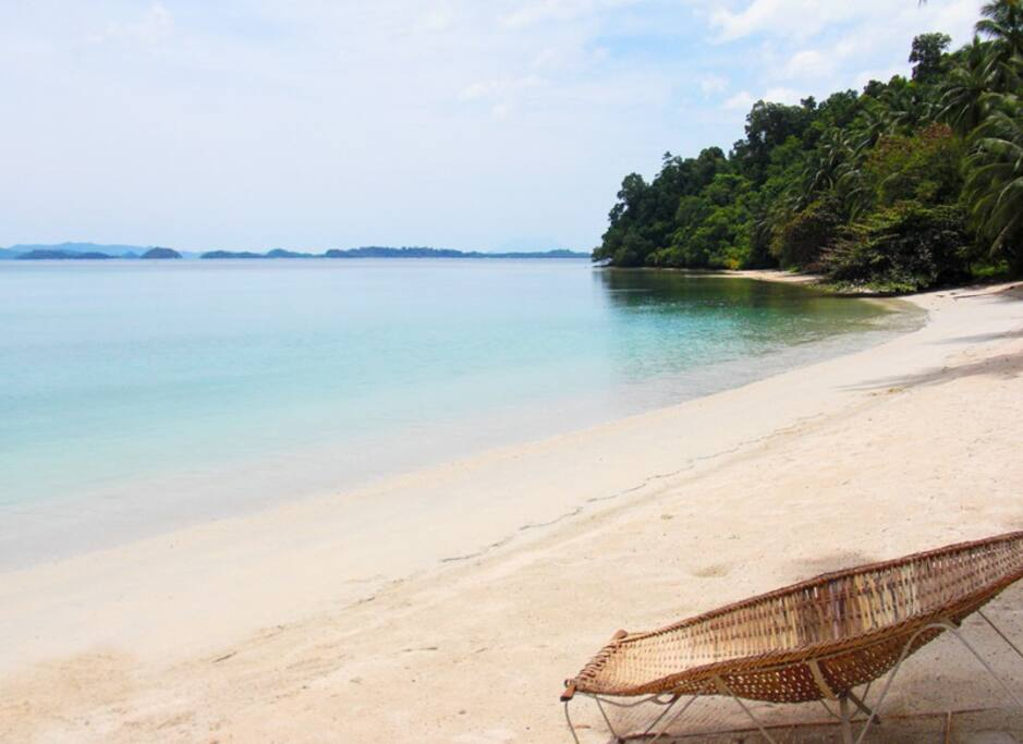 Private white sand beach