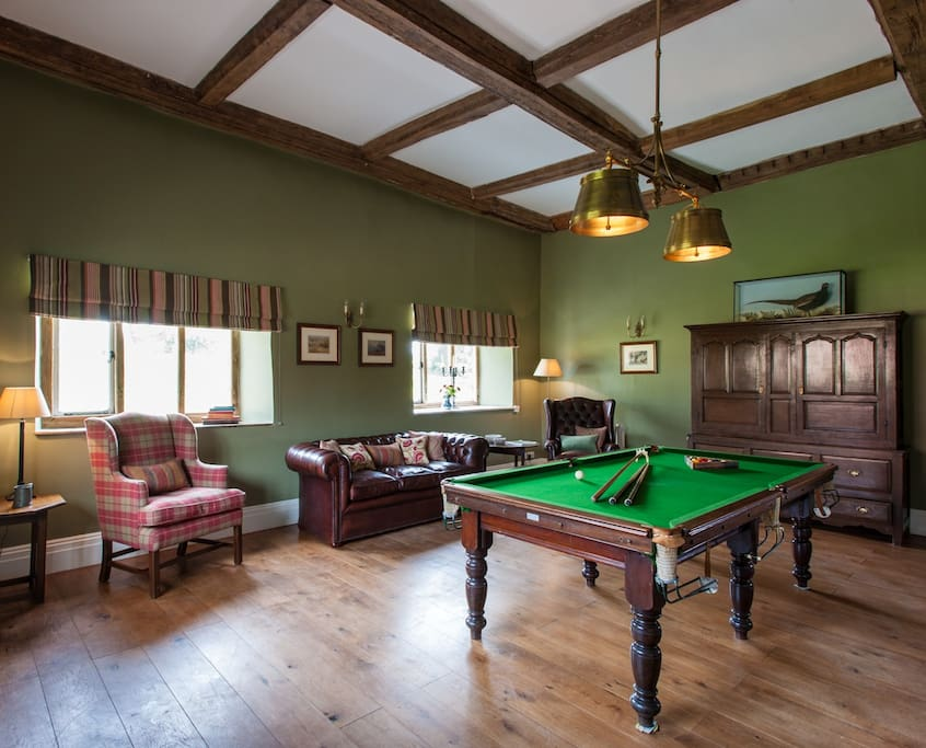 Games room with Billiard table, Sky TV and board games
