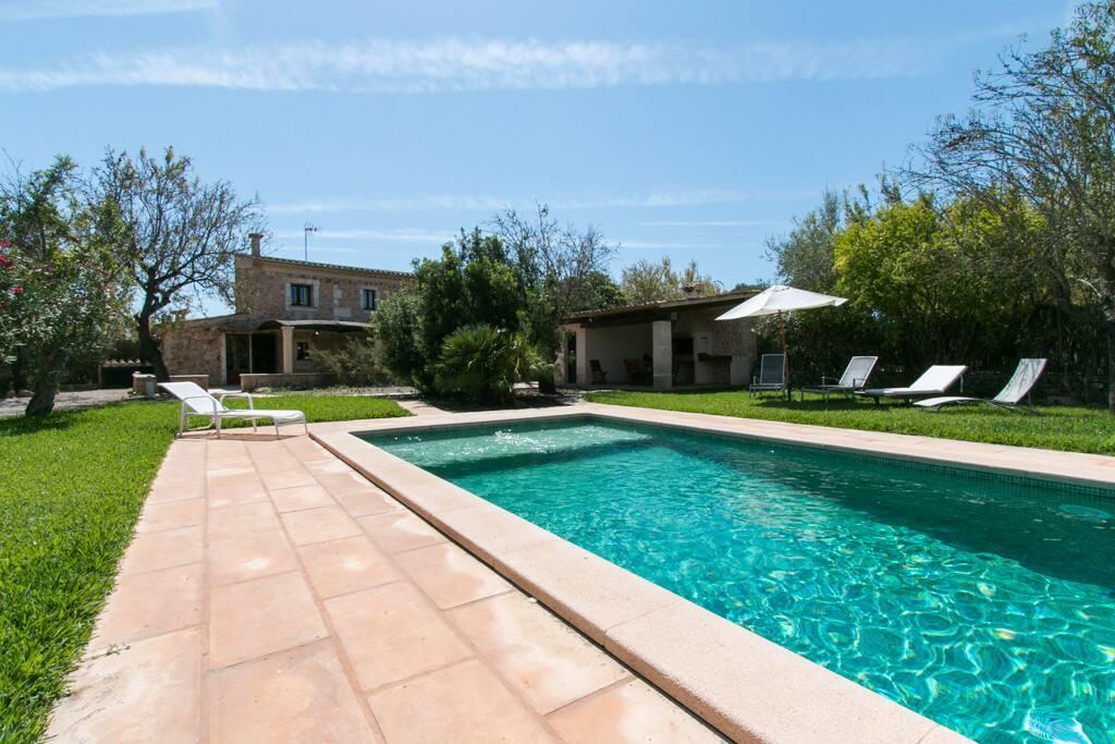 la piscina con su zona de solárium y el jardín natural con árboles autóctonos