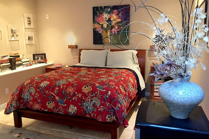 Comfortable Queen Bed.  Luxurious Linens  - All-Cotton Sheets with High Thread Count. Silk, Cotton, or Wool Blanket and Duvet Plentiful Choices of Lovely Mood Lighting and Functional Lighting