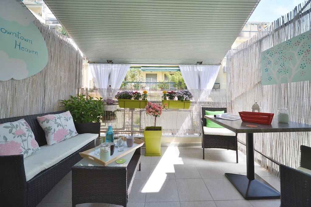 enjoy your breakfast in this blooming terrace