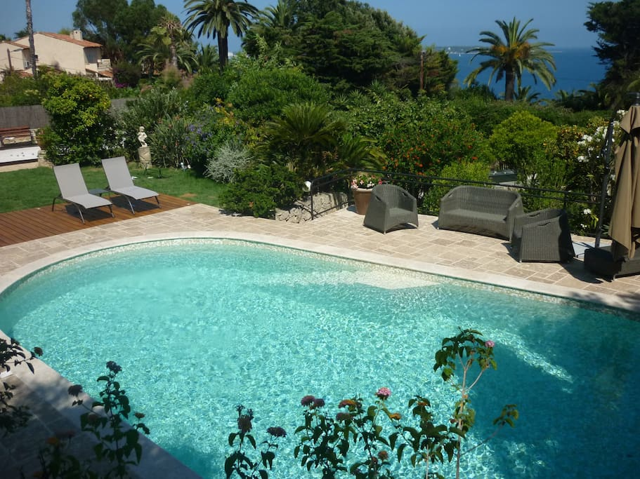 View of Cap d'Antibes and our newly renovated salty pool!