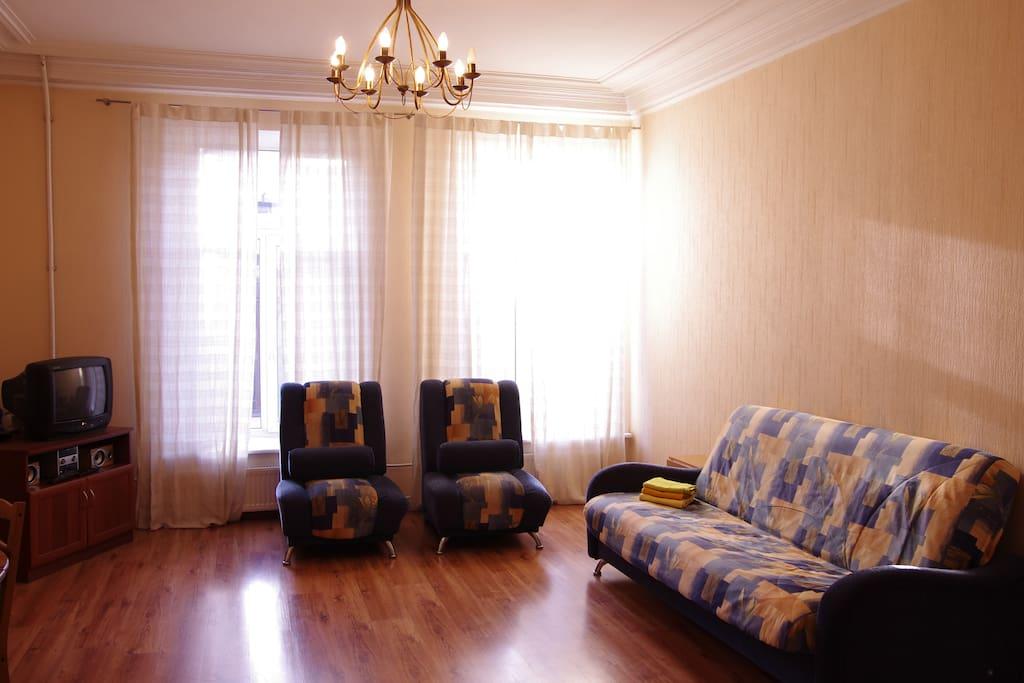 Просторная гостиная с лепкой на потолке. Диван-кровать для двоих.