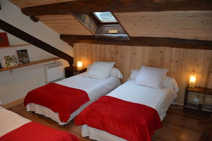 Chambre n°1  2 ou 3 lits (90x190)