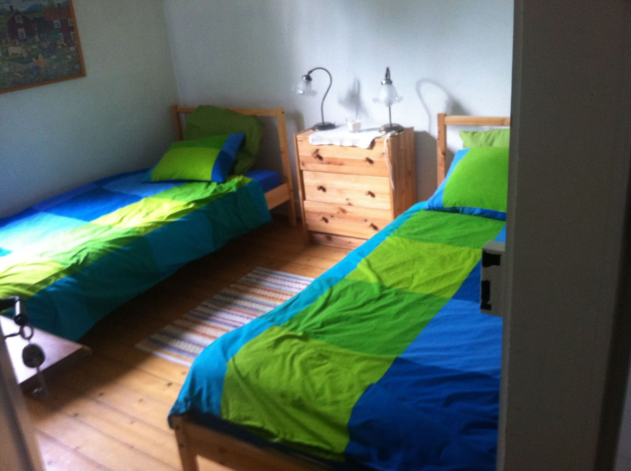 cute room with two single beds