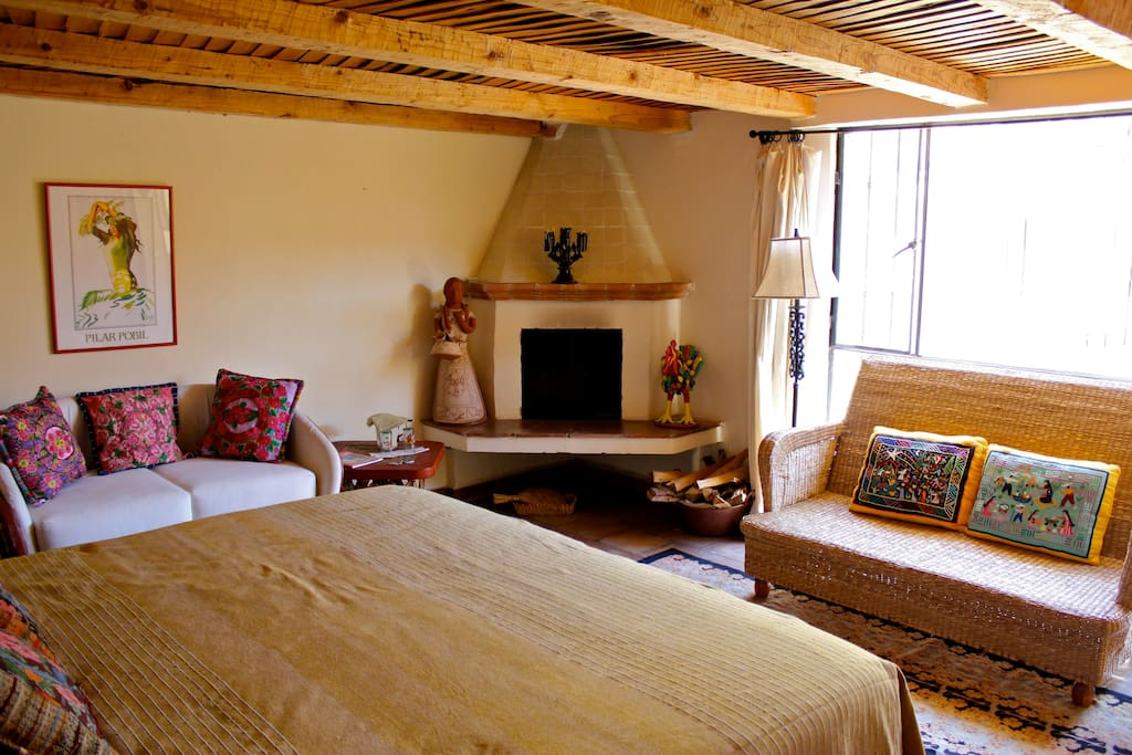 Master bedroom - bright and warm with gas starter/wood fireplace.