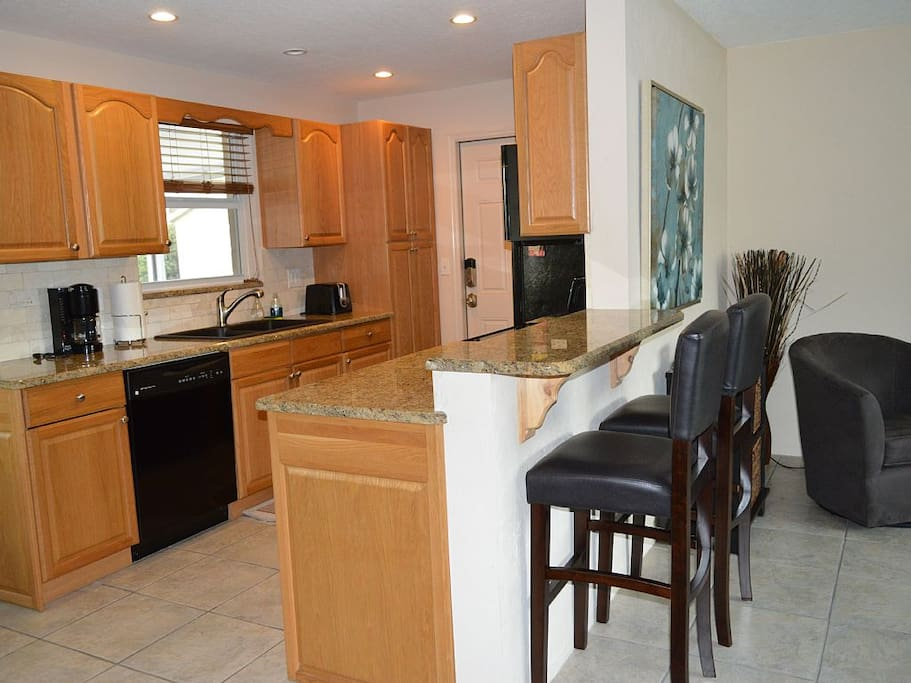 Kitchen with counter top seating