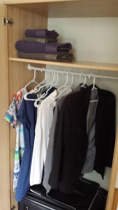Wardrobe for hanging clothes, storing suitcase, and towels. - Dolphin Room