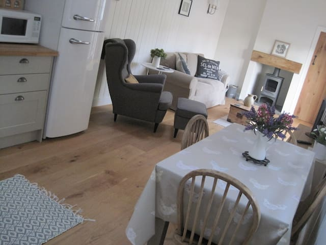 The open plan living / kitchen / dining area