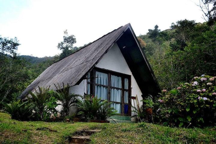 Chalé na natureza preservada, águas e montanhas