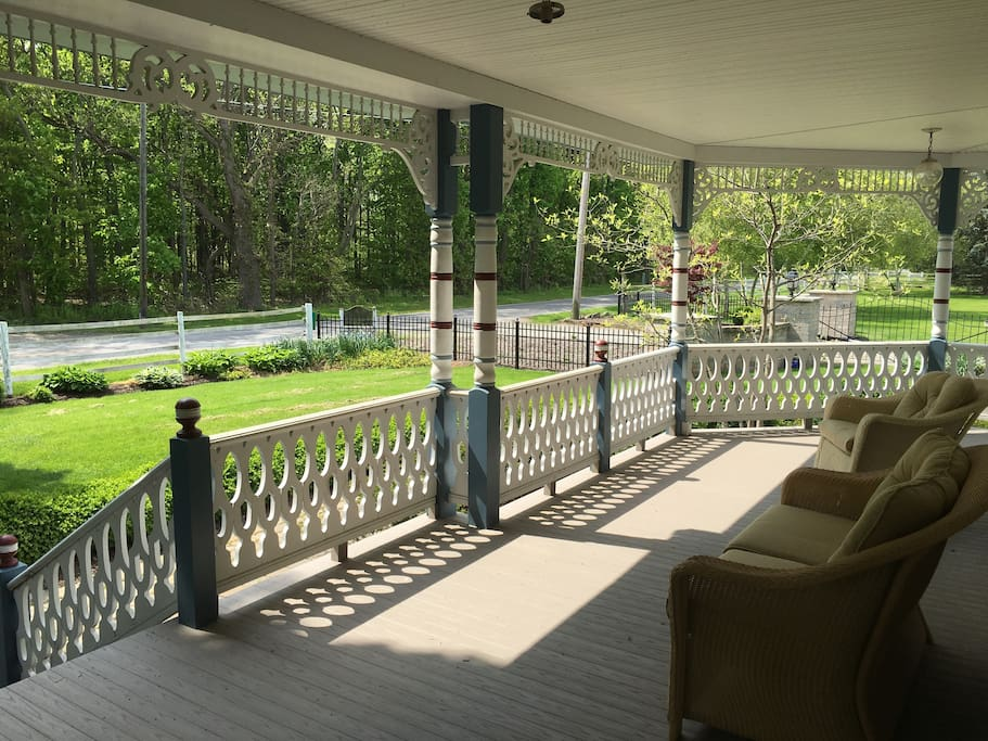 The wraparound porch lounge has an excellent view of the touring traffic.
