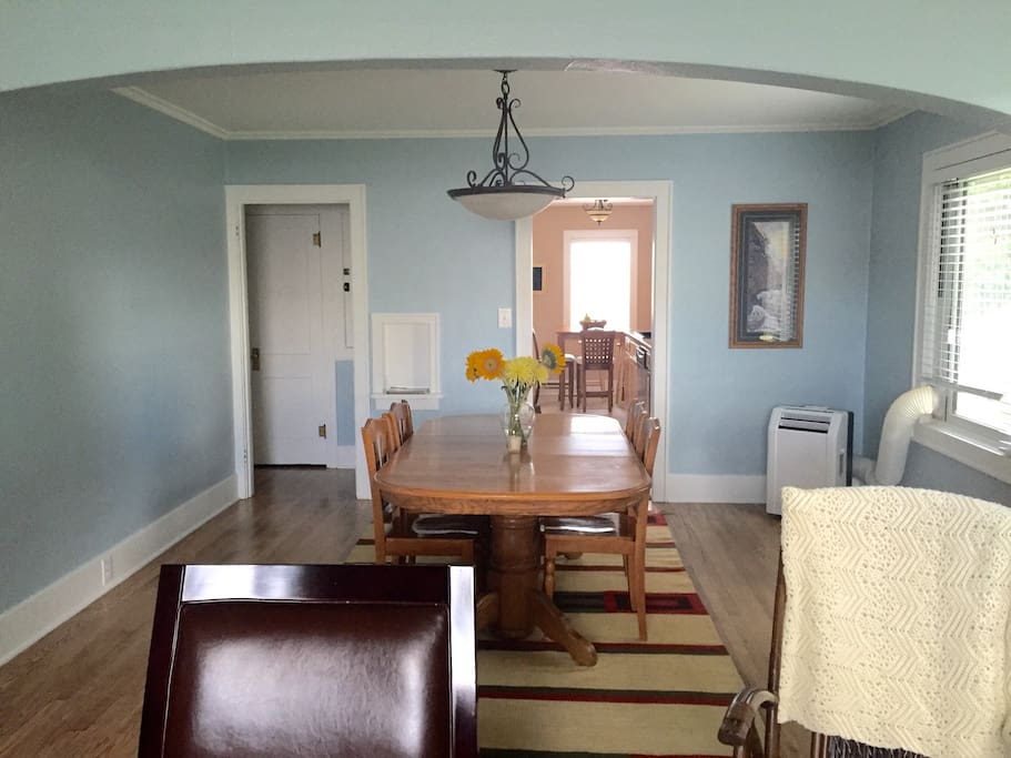 Dining room with view into kitchen