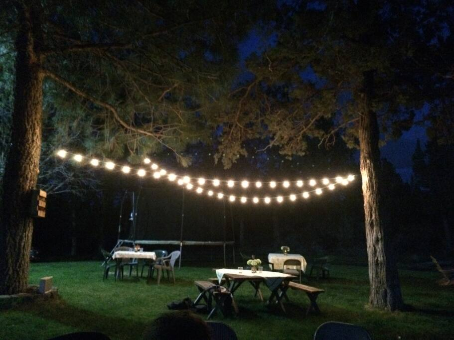 View of the light canopy, picnic tables and stars at night!
