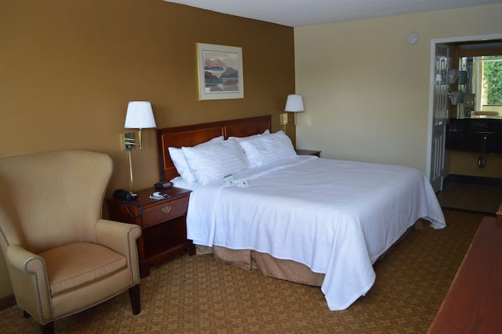 Deluxe Room with King memory foam bed non-smoking. All rooms are independent from each other. We are open with some restrictions
