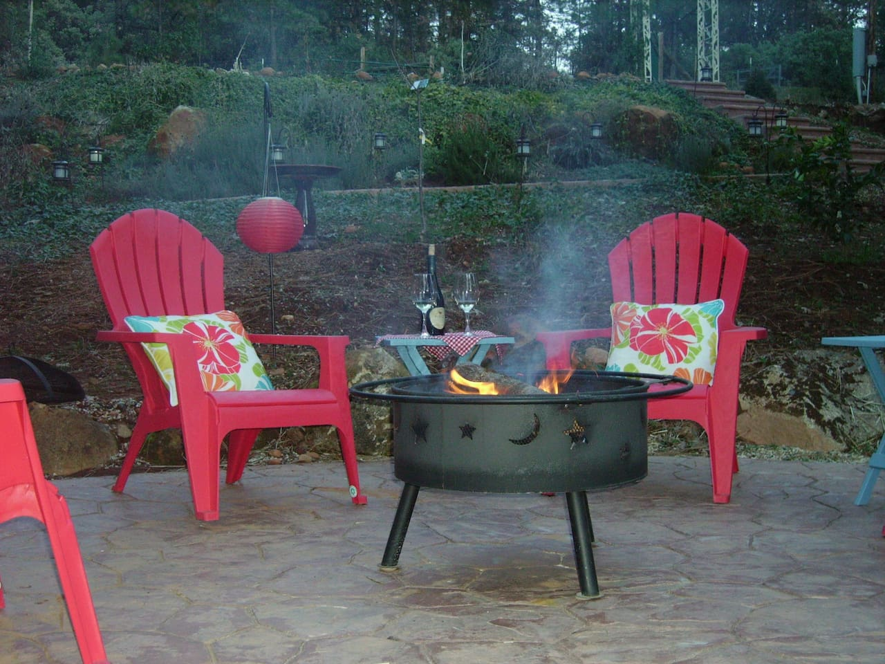 Sit and rest a while on the campfire patio!
