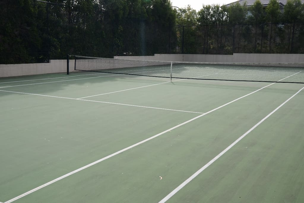 Tennis court available for use.