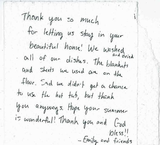Emily left us a Thank You note on a paper towel. We love it and want to share it with you! Thank You, Emily and friends!