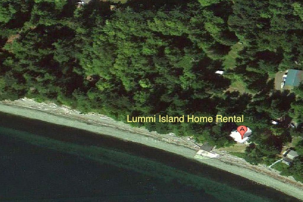 Aerial view of Lummi Island Home Oceanfront Property